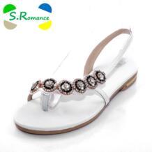 S. романтика Для женщин SandalNew поступление модные летние однотонные слипоны со стразами босоножки на плоской подошве повседневная женская обувь черный, белый цвет SS176 No name 1851445519