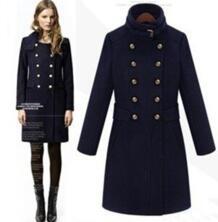 Новинка 2017 года мода стоять воротник шерстяное пальто женские осенне-зимнее пальто тонкий синий пальто большие размеры Шерстяной Тренч пальто Chimavvi 32435912442