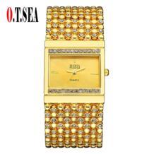 Высокое качество О. Т. море бренд золотой браслет часы женщины дамы кристалл платье Кварцевые наручные часы Relogio Feminino 1792 O.T.Sea 32690209898
