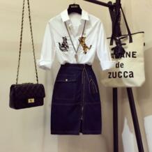 2019 Весенняя женская модная белая рубашка с длинными рукавами и вышивкой кота + синяя джинсовая юбка комплект из двух предметов для девочек Chimavvi 32807510842