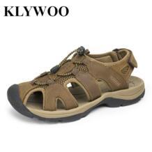 Большой размер 38-47 мужские сандалии из натуральной кожи Модная Летняя обувь Для мужчин Тапочки Дышащий Для мужчин сандалии повседневная обувь кожа No name 32628477809