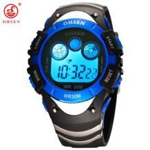 Фирменные OHSEN Мужская Обувь для мальчиков цифровой спортивные часы Водонепроницаемый резинкой наручные часы светодиодная подсветка синий Millitary Часы секундомер подарки No name 1976042337