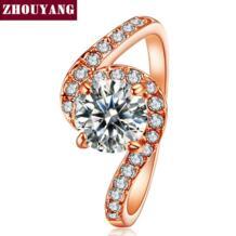 Одежда высшего качества ZYR078 кубический цирконий Свадебные украшения кольцо розовое золото цвет Австрийские кристаллы Полный размеры опт ZHOUYANG 804223600