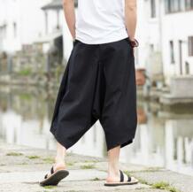G-как летнее китайское Стиль Для мужчин свободные хлопок лен Подрезанные штаны для отдыха дышащая Панталоны Удобная Штаны для боевых искусств No name 32802145873