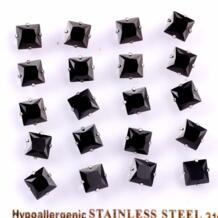 Бриллиант Черный квадрат Cut кубический циркон Нержавеющаясталь-Размеры 3 мм до 10 мм зубец Установка черный кристалл серьги-стержни LUXUKISSKIDS 1452126896