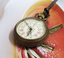 Кольцо старый вид античная латунь Малый карманные часы + кожаный цепи Бесплатная доставка No name 497810786