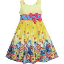 платья для девочек Подсолнечник Сад Цветок Распечатать Хлопок Желтый Sunny Fashion 32434330805