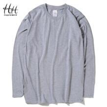 HanHent/Модные Классические хлопковые футболки для мужчин, однотонные футболки с длинными рукавами и круглым вырезом, новые демисезонные базовые футболки для бодибилдинга HANHENT HH 32405203192