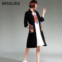 Тренч женский зимний и осенний китайский стиль воротник стойка вышивка хлопок и лен длинный плащ пальто mferlier 32819412844