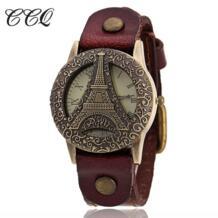 Элитный бренд кожаный браслет часы Для женщин рома vintagetower часы Повседневное наручные кварцевые часы Relogio Feminino C33 CCQ 32702608751