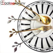 Классическая кофейная ложка в форме ветви десертная ложка пищевая металлическая мороженое Конфета чайная ложка посуда винтажная королевская BalleenShiny 32823074627