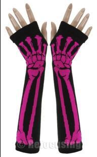 Черный Панк Скелет Хэллоуин Sexy Lady Disco Танцевальный костюм партия пальцев длинные Гетры для рук Перчатки Оптовая продажа, Бесплатная доставка No name 32339207215