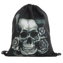 3D Печать Череп мешки Drawstring Полиэстер Для женщин Для мужчин рюкзаки шаблон подростков школьные Сумки sac dos garcon xiniu 32847052941