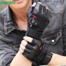 Премиум Подарки Спорт Бег велосипедные перчатки Для мужчин тренажерный зал Упражнение Обучение Спорт Фитнес Спорт Половина пальцев PU кожаные перчатки No name 32713343623
