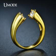 уникальный высокая польский обход кольца кубического циркония 18 К желтого золота гальваническим мода кольцо бижутерии роковой Moda Mujer ювелирные изделия UR0220A UMODE 32374883557