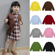 8 цветов! Новая осенне-зимняя одежда для мальчиков и девочек Вязаный Однотонный свитер пальто-кардиган теплая мягкая хлопковая одежда по низкой цене MUQGEW 32836256932