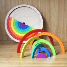 14 шт./компл. красочный конструктор из дерева для детей творческие Радуга сборные блоки игрушки Oyuncak Монтессори Brinquedos 47 FREECOLOR 32864343577