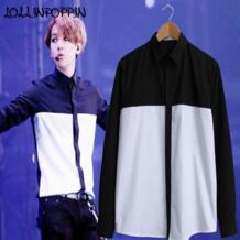 Черный и белый цвета рубашка для мужчин корейской моды s повседневное рубашка контрастной расцветки EXO же стиль скрытые пуговицы однобортный LOLLINPOPPIN 32641782817