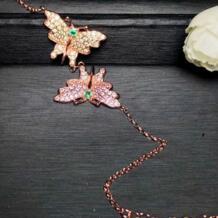 Изумруд браслет-цепочка Бесплатная доставка натуральной Изумрудный Бабочка Стиль серебро 925 Изящные ejewelry # BL18090415 No name 32301512438