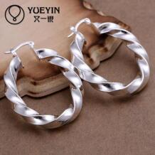 Новая мода новый дизайн с серебряным покрытием jewelry Для женщин обруч серьги мода brincos заушника Мода Оптовая Витой YUEYIN 32316358010