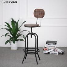 IKayaa промышленных стильный барный стул регулируемый по высоте вращающийся стул Пайнвуд топ со спинкой бар мебель нам FR DE со No name 32817751590