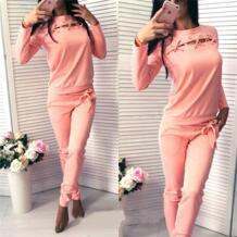 Женские розовые спортивные костюмы для бега, костюмы для бега, повседневный комплект из 2 предметов, топ и штаны, свитшот с длинным рукавом, спортивная одежда HimanJie 32824216816