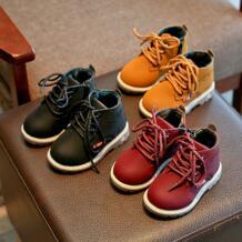 Зимние для маленьких мальчиков обувь для девочек Модные ботинки на шнурках на шнуровке кожаные сапоги ребенок Обувь теплые Повседневное детские пинетки для малышей противоскользящие bfof ARLONEET 32843341128