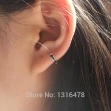 Серебряные серьги 925 пробы черная полоса уха кости уха пряжка небольшой сережку Прохладный личности нейтральный внутренняя diameter5.5mm Мужчины Женщины уха еврей seyixu 32345050177