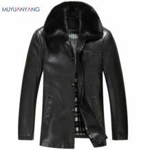Mu Yuan Yang зимняя модная мужская кожаная куртка с отворотом мужская кожаная куртка с искусственным кроличьим мехом и Пальто Повседневное однобортное пальто No name 32371889333