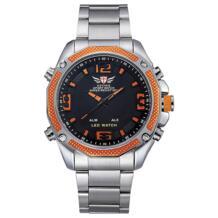 оранжевые аналоговые и светодиодный цифровые часы мужские 2018 из нержавеющей стали серебряный ремешок часы Мужские лучший бренд класса люкс relogio masculino EPOZZ 32802300135