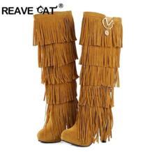 REAVE CAT/Большие размеры 32-43 новые флоковые На зимнем меху Для женщин сапоги на высоком каблуке сапоги до колена бахрома Ленточки модные чёрный; коричневый красный ZL4150 No name 1900521028