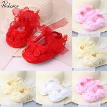 Pudcoc/Детская однотонная обувь для новорожденных пинетки для девочек; Нескользящие мягкие детские туфли принцессы с кружевными цветами; кроссовки для детей от 0 до 12 месяцев pudcoco 32966766396