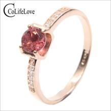 Новое поступление Кольца из натурального Поделочного Камня 5 мм круглой формы розовый турмалин драгоценный камень кольцо твердое 925 серебро pyrope гранат кольцо для женщин CoLifeLove 32543693290