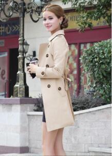 2019 новый бренд Для женщин Тренч Длинная ветровка Европа Америка тенденции моды двубортный узкий длинный плащ W919 XI JIANG MOON 32809137586