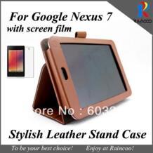 Чехол из искусственной кожи для google Nexus 7 tablet pc + Защитная пленка для экрана, чехол для планшета google 7 и прозрачная пленка No name 612770274