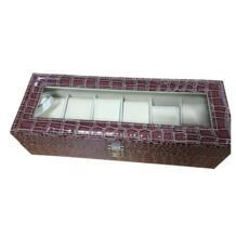 Искусственная кожа часы чехол для хранения Дисплей Коробка органайзер ювелирные изделия Стекло Топ Размеры: 6 Сетка крокодиловый коричневый GERRYDA 32820608674