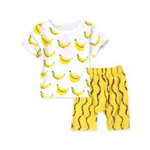 Пижама для мальчиков, комплект одежды, хлопковая детская одежда летние детские пижамы, комплект для мальчиков, спортивные костюмы брендовая футболка с бананом + шорты, 2017 rorychen 32697303321