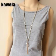 Бесплатная доставка длинное ожерелье с подвеской из бисера розового цвета kawela 32804846015