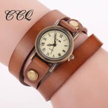 высокое качество Винтаж телячья кожа смотреть Для женщин наручные часы кожаный ремешок кварцевые наручные часы подарок 754 CCQ 32366334504