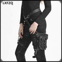Carteras mujer кожаная Паровая панк Готическая сумка на плечо для мужчин и женщин кожаные сумки для талии Женская сумка-мессенджер модная сумка для ног LXFZQ 32748541304