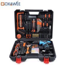 120 шт. ручной инструмент набор домашний ремонт ручной инструмент перезаряжаемый литиевый аккумулятор 12 В Электрический Ударная отвертка дрель гаечный ключ GOXAWEE 32910270341