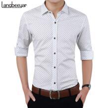 2019 Новая Осенняя модная брендовая мужская одежда Slim Fit Мужская рубашка с длинным рукавом мужская в горошек повседневная мужская рубашка Social Plus Размер M-5XL LANGBEEYAR 32434730876