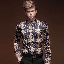 FanZhuan Бесплатная доставка новый мужской 2015 осень зима мужская одежда в стиле барокко с длинными рукавами мужская повседневная мужская рубашка личность 14281 No name 32318741084