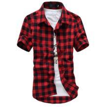 Мужская клетчатая рубашка рубашки 2019 новые летние модные Chemise Homme Для мужчин s рубашки в клетку футболка с коротким рукавом Для мужчин дешевые красный и черный BSETHLRA 32642994862