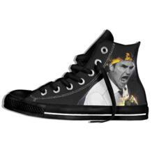 Для мужчин и wo Для мужчин теннис плеер мультфильм Роджер Федерер с высоким верхом на шнуровке плоская парусиновая обувь легкие тапки ORKCAMP 32873564194