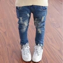 2019 весенне-осенние джинсы для девочек модные рваные детские джинсы для девочек, универсальные фирменные лосины для маленьких девочек, детская одежда DNSDFS 32858934939
