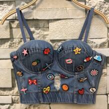 Новый ковбойский отверстие Push Up Denim бюстье укороченный топ женские рваные пикантные укороченные Feminino Strappy Bralette бюстгальтеры для женщин топики New Veeliya 32860651817