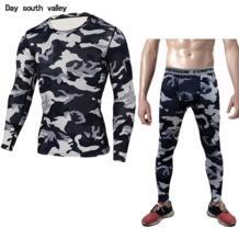Колготки Камуфляжный спортивный костюм Для мужчин ММА rashgard Для мужчин футболка с длинным рукавом Леггинсы фитнес-одежда милый костюм crossfit рубашка Day south valley 32830817364