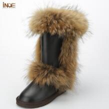 Inoe/Модная женская зимняя обувь; зимние сапоги высокие сапоги яловичный спилок кожаные ботинки на лисьем меху черного и коричневого цвета высокое качество водонепроницаемый No name 1770898162