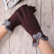 Высокое качество элегантные женские экранные шерстяные перчатки женские милые варежки с бантом теплые зимние кашемировые перчатки для девочек Miya Mona 32723645009